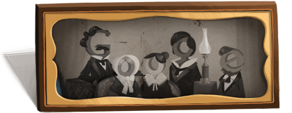 Google Logo: Louis Daguerre 224th birthday - French artist and physicist, inventor of the daguerreotype process.