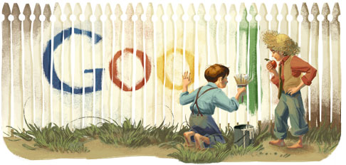 Google Logo: Mark Twain's 176th Birthday - American author, wrote The Adventures of Tom Sawyer